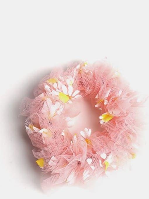 Pink  large intestine ring Net Yarn Small Daisies Minimalist Flower Hair Barrette