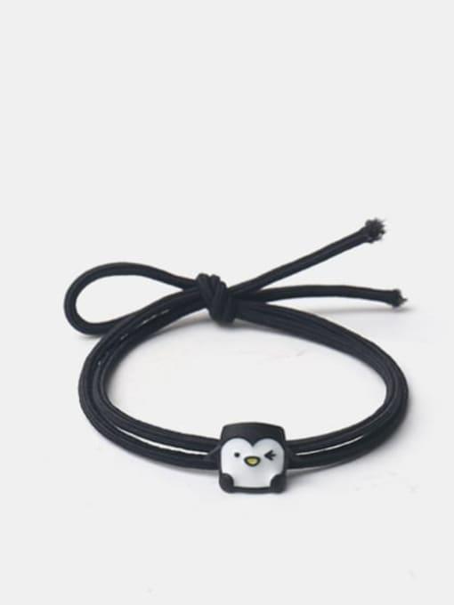 黑色方块企鹅 Alloy Enamel Cute Cat  Multi Color Hair Rope