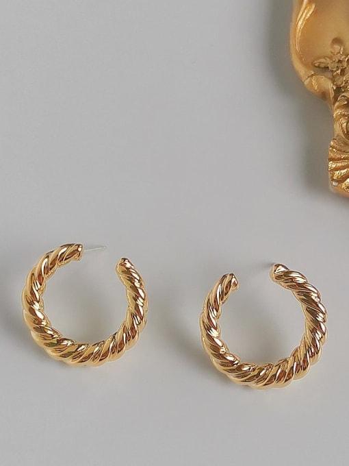 14K  gold Copper Alloy Gold Geometric Minimalist Hoop Earring