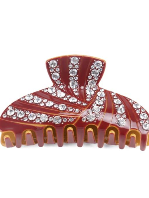 Orange pink white Cellulose Acetate Minimalist Geometric Rhinestone Jaw Hair Claw