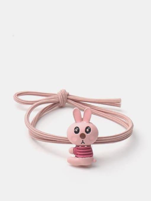 Pink side sitting rabbit Alloy  Enamel Cute Rabbit Multi Color Hair Rope