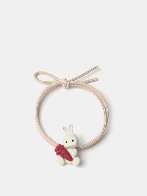 JoChic Alloy Enamel Cute Rabbit With Radish  Multi Color Hair Rope 0