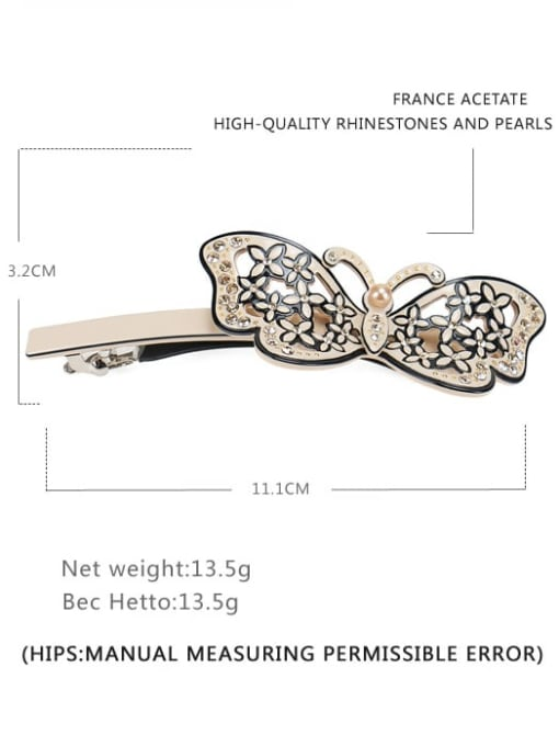 Thin spring clip Cellulose Acetate Minimalist Butterfly  Rhinestone Hair Barrette