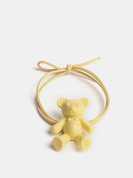 yellow Cute fluorescent color bear Hair Rope