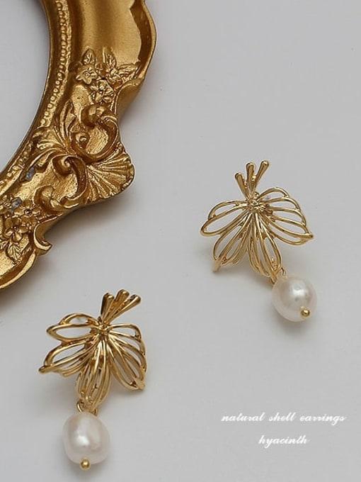 HYACINTH Copper Alloy Freshwater Pearl Gold Geometric Minimalist Earring 3