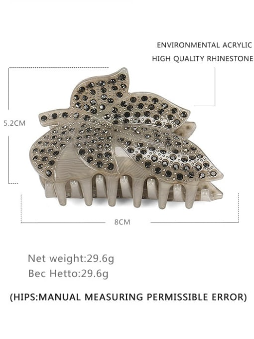 BUENA Acrylic Minimalist Leaf Rhinestone Jaw Hair Claw 2