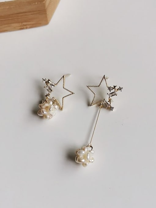 HYACINTH Copper Alloy Freshwater Pearl Gold Star Trend Earring 0