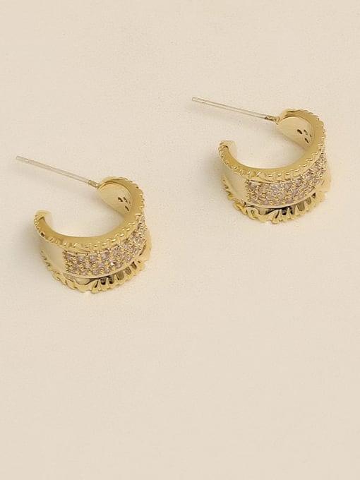 HYACINTH Copper Alloy Rhinestone Gold Geometric Vintage Stud Earring 0