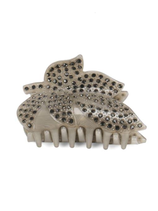 grey Acrylic Minimalist Leaf Rhinestone Jaw Hair Claw