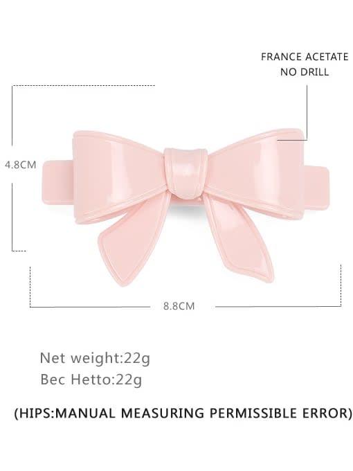 Pink Big Cellulose Acetate Minimalist Bowknot Hair Barrette
