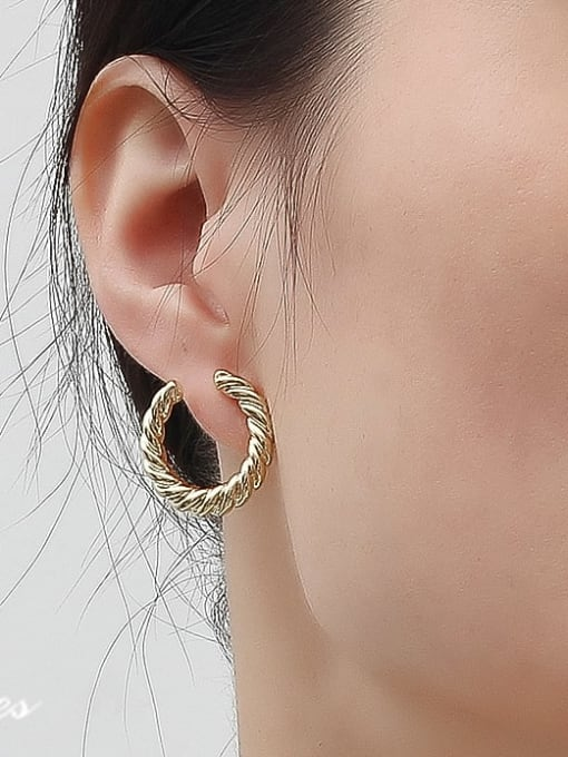 HYACINTH Copper Alloy Gold Geometric Minimalist Hoop Earring 1