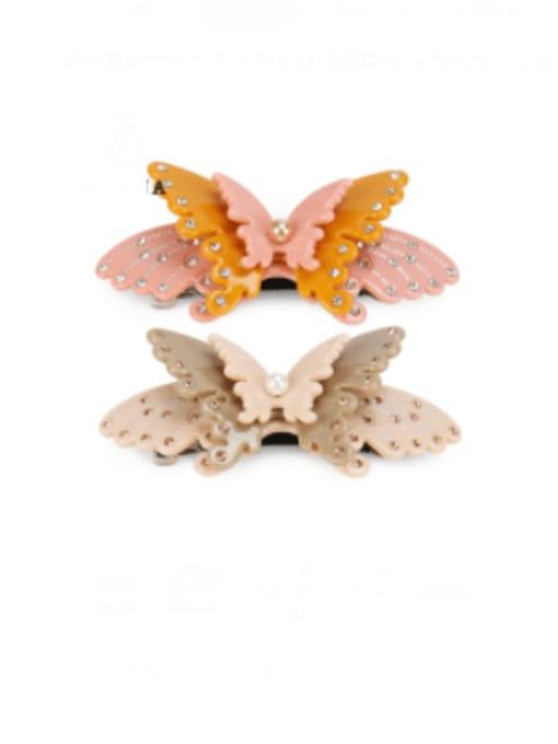 BUENA Cellulose Acetate Minimalist Butterfly Alloy Imitation Pearl Multi Color Hair Barrette