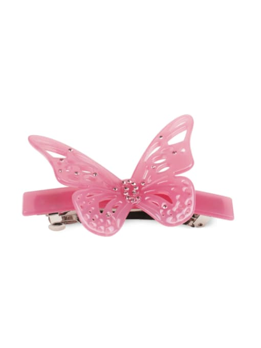 Pink Cellulose Acetate Minimalist Butterfly Rhinestone Hair Barrette