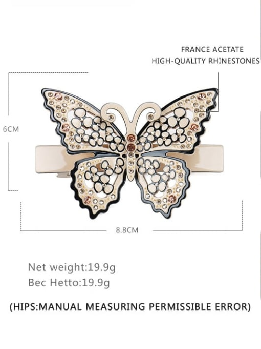 Wide spring clip Cellulose Acetate Minimalist Butterfly Alloy Rhinestone Hair Barrette