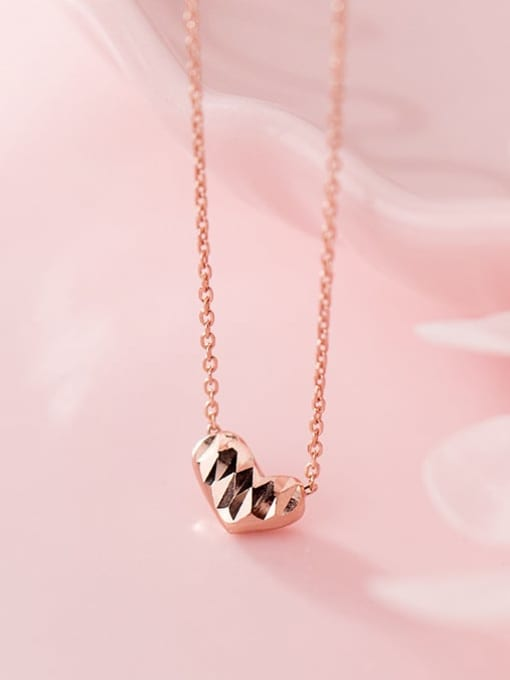 Rosh 925 Sterling Silver Gold Heart Minimalist Necklace 2