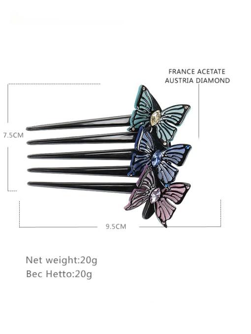 BUENA Alloy Rhinestone Cellulose Acetate Minimalist Butterfly 2