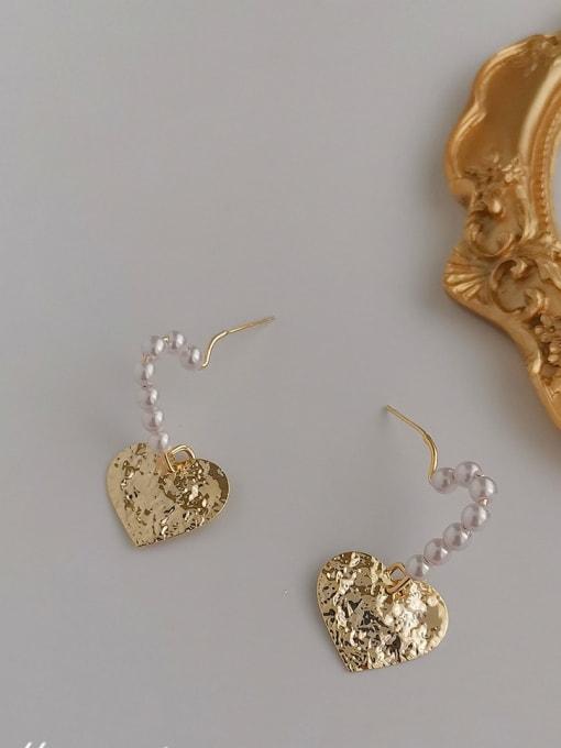 14K Alloy Freshwater Pearl Gold Heart Classic Earring