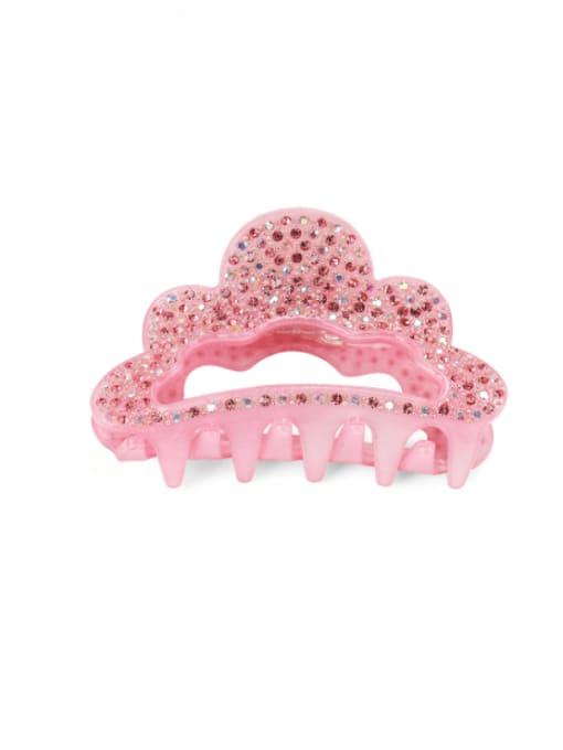 Pink Acrylic Minimalist Crown Alloy Rhinestone Multi Color Jaw Hair Claw