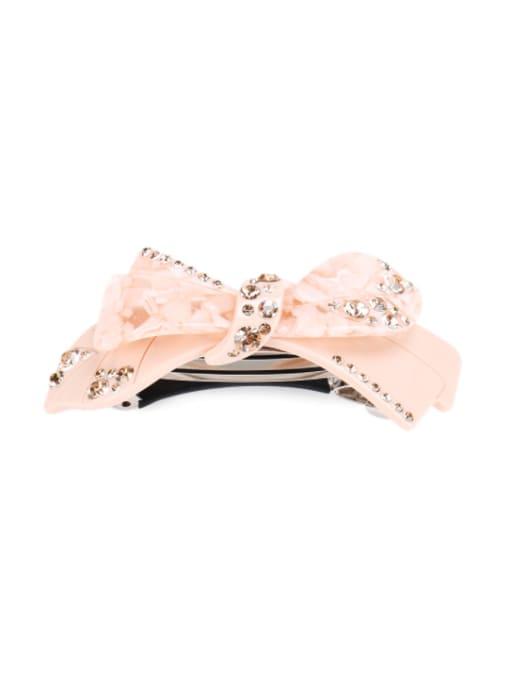 Pink Cellulose Acetate Minimalist Bowknot Alloy Rhinestone Multi Color Hair Barrette