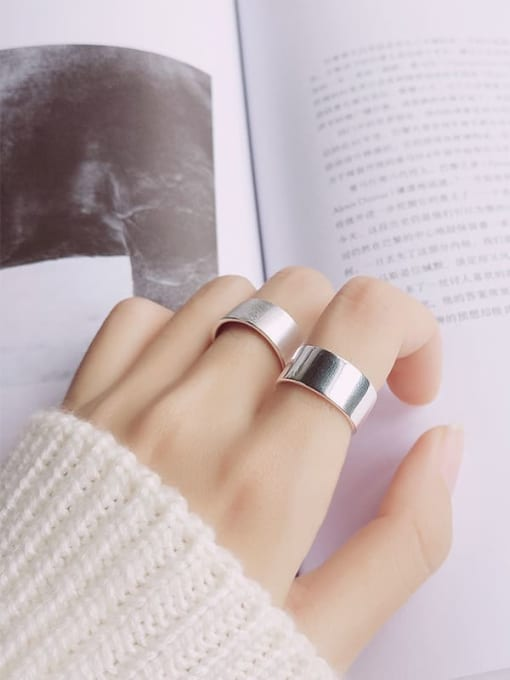 Rosh 925 Sterling Silver Silver Round Minimalist Band Ring