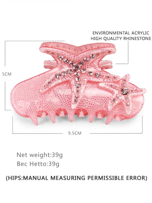 Pink Acrylic Minimalist Irregular Alloy Rhinestone Jaw Hair Claw