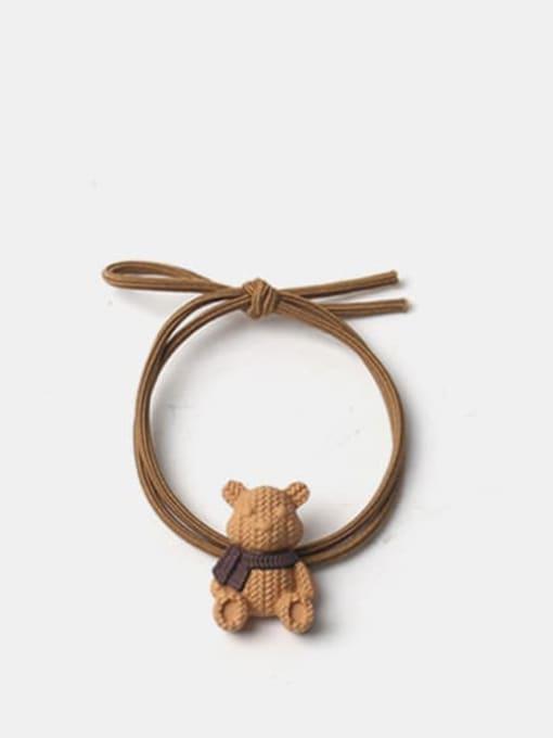 Earthy yellow Alloy Cute Bear  Hair Rope