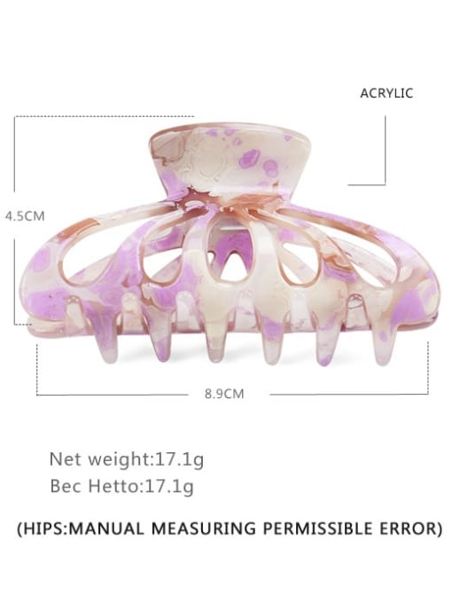 purple Acrylic Minimalist Geometric Multi Color Jaw Hair Claw
