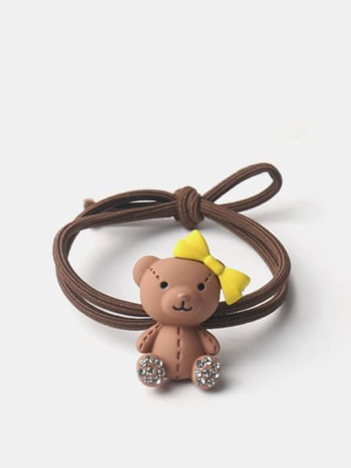 Brown puppet bear with bow Alloy Cute Bowknot  Rhinestone Multi Color Hair Rope