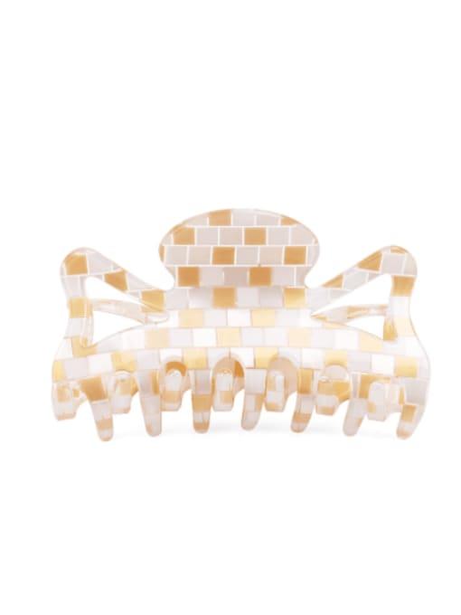 Grid yellow PVC Minimalist Geometric Multi Color Jaw Hair Claw