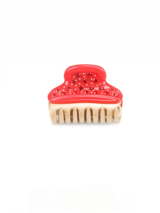 Chinese Red Cellulose Acetate Minimalist Alloy Rhinestone Jaw Hair Claw