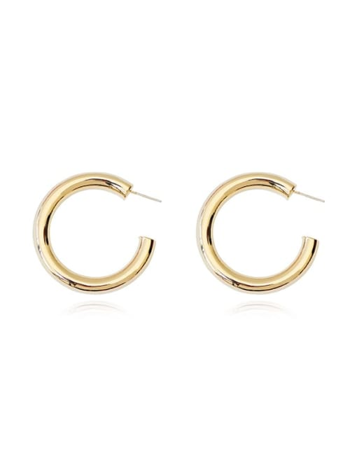 HYACINTH Copper Alloy Round Minimalist Hoop Earring 4