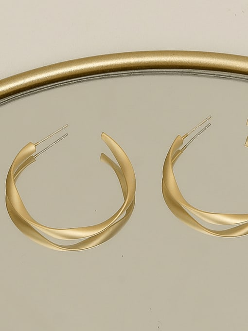 Matte Gold 006-2 Copper Alloy Round Minimalist Stud Earring
