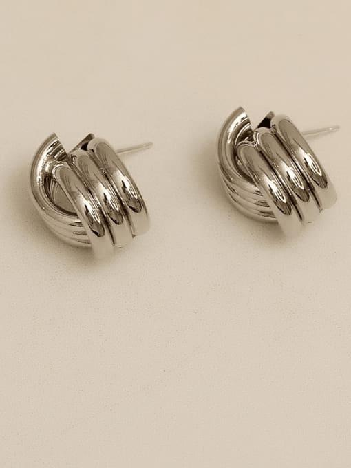 silvery Alloy Geometric Earring