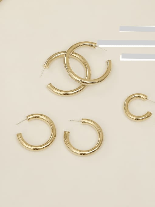 HYACINTH Copper Alloy Round Minimalist Hoop Earring 1