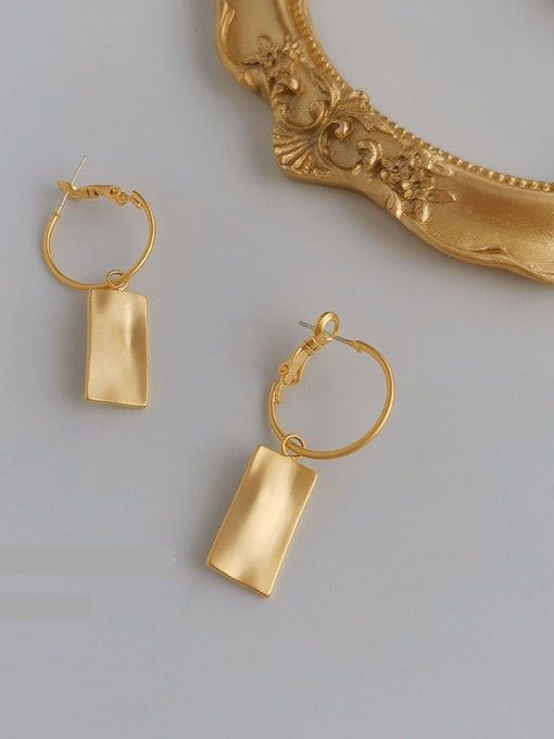 Matte gold Copper Alloy Gold Geometric Trend Earring