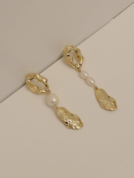 14k Gold Plating Copper Alloy Freshwater Pearl Earring