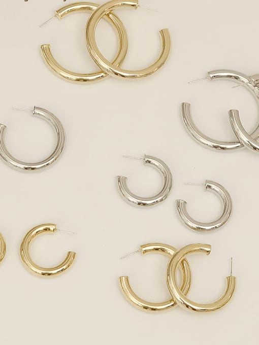 HYACINTH Copper Alloy Round Minimalist Hoop Earring 0