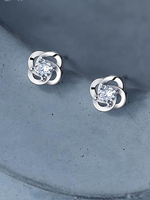 Rosh 925 Sterling Silver Flower Dainty Stud Earring 1