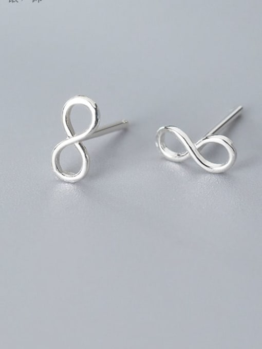 Rosh 925 Sterling Silver Number Minimalist Stud Earring 2