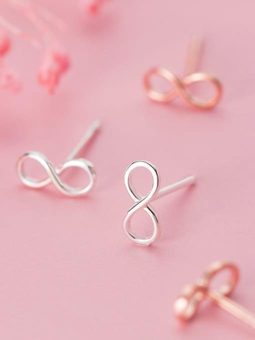 Rosh 925 Sterling Silver Number Minimalist Stud Earring 1