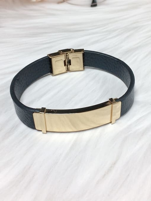 Gold Stainless steel Leather Rectangle Trend Bracelet