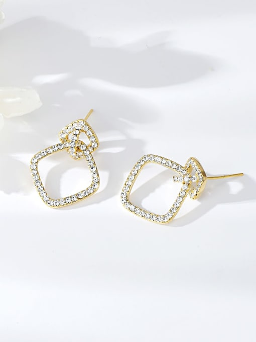 KEVIN Copper Alloy Rhinestone Square Trend Drop Earring