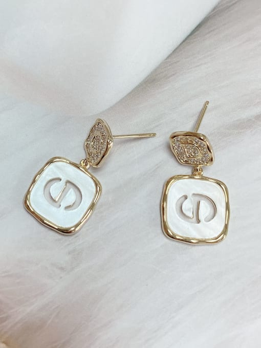 KEVIN Brass Cubic Zirconia Acrylic Square Trend Drop Earring 1