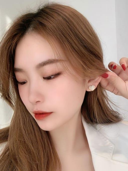 KEVIN Brass Cubic Zirconia Heart Minimalist Stud Earring 2