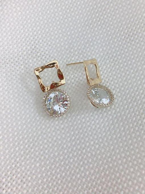 KEVIN Brass Cubic Zirconia Irregular Trend Drop Earring 1