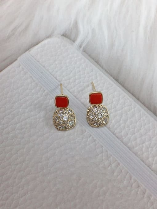 Red Brass Cubic Zirconia Acrylic Square Dainty Stud Earring