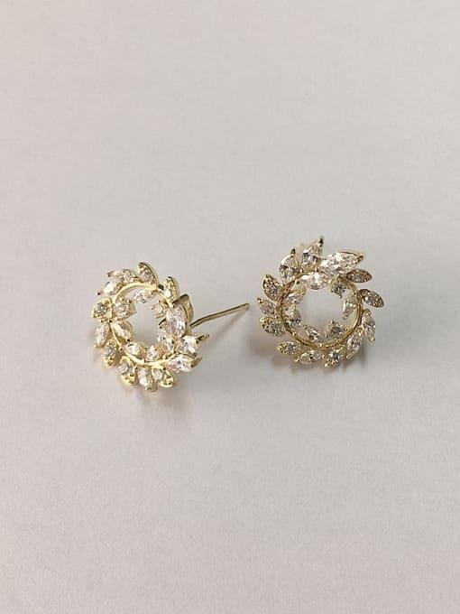 Gold Brass Cubic Zirconia Leaf Dainty Stud Earring