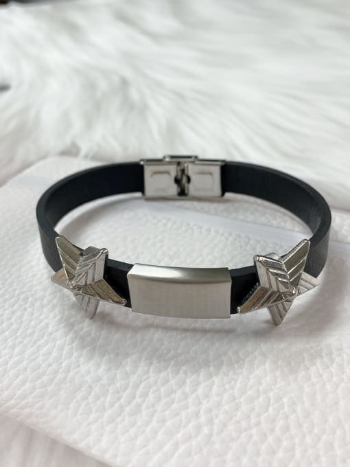 Silver Stainless steel Leather Star Trend Bracelet