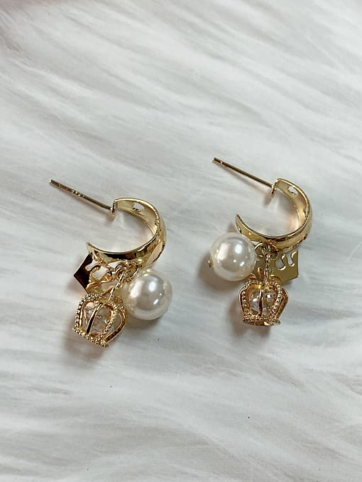 KEVIN Zinc Alloy Imitation Pearl Crown Trend Drop Earring 0