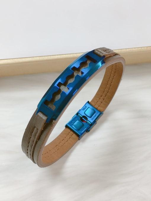 Blue Stainless steel Leather Irregular Trend Bracelet